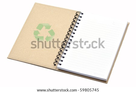 Recycle notebook with recycle symbol - stock photo