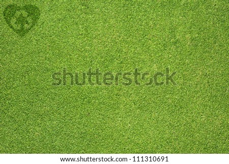 Recycle of heart icon on green grass texture and  background