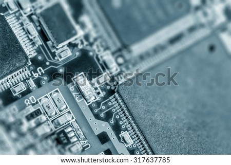 recycle old electronics pcb components - stock photo