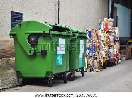 Recycle old paper, container for rubbish. - stock photo