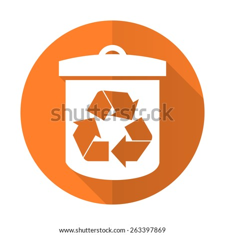 recycle orange flat icon recycling sign  - stock photo
