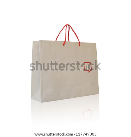 Recycle paper bag isolated on white background. - stock photo