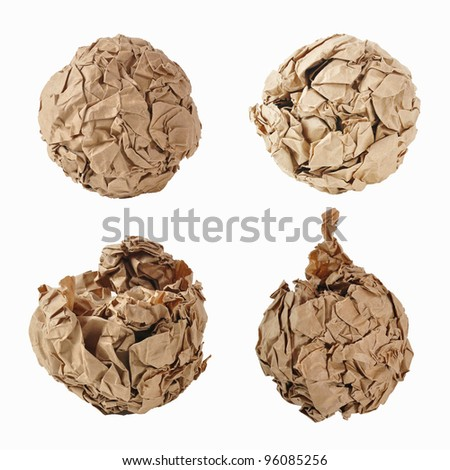 recycle paper ball on white background - stock photo