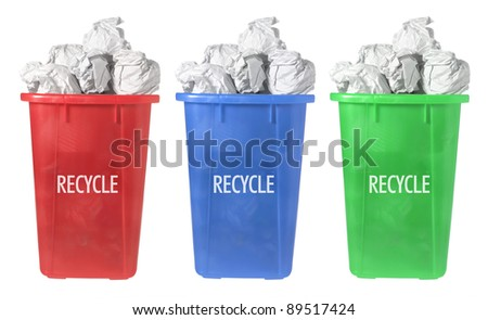 Recycle Paper Bins on White Background
