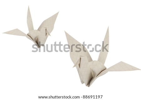 recycle paper bird s isolated on white - stock photo