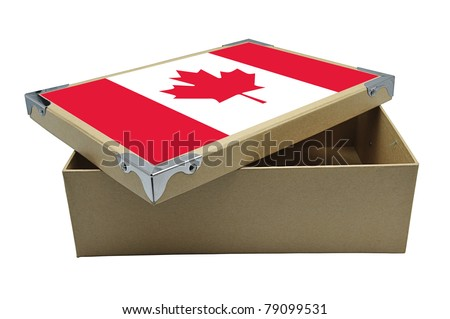 Recycle paper box with Canada flag isolated on white