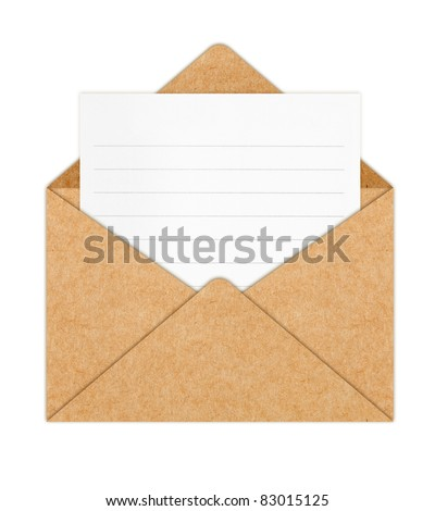 Recycle Paper envelope with Blank White Paper - stock photo