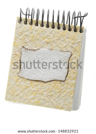 recycle paper note book on white background