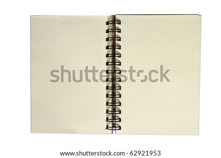Recycle paper notebook open two pages on white background