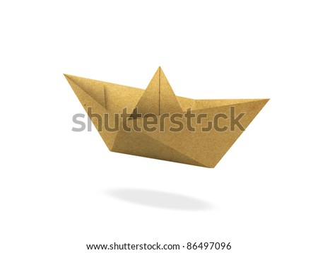 Recycle paper, Paper boat isolated on white background