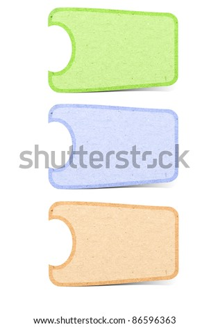 Recycle paper tag stick on white background