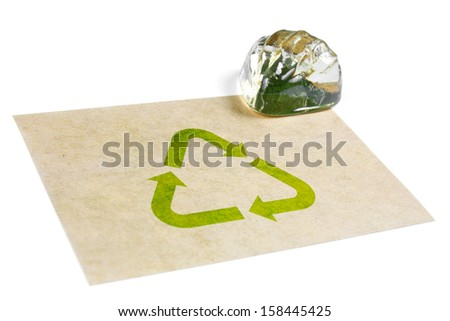 recycle paper with symbol and glass shell, isolated - stock photo