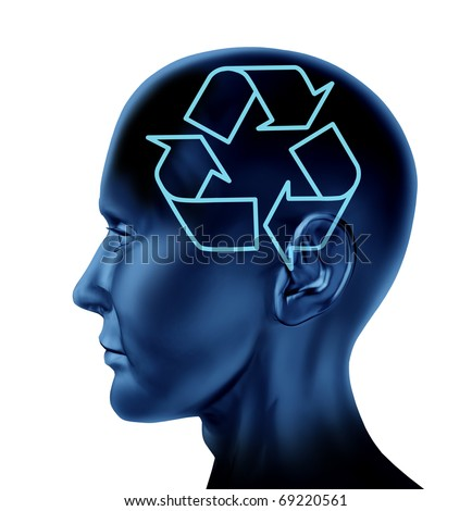 recycle recycling reuse environment symbol Brain mind head idea intelligence isolated - stock photo