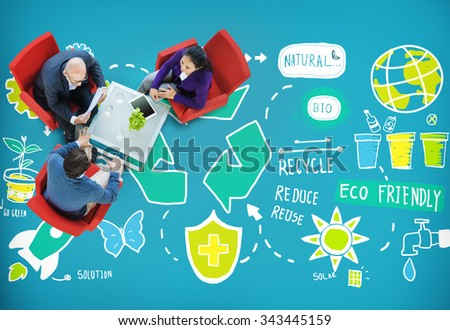 Recycle Reduce Reuse Eco Friendly Natural Saving Go Green Concept - stock photo