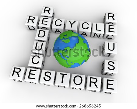 Recycle, reduce, reuse, restore,cubes with earth globe - stock photo
