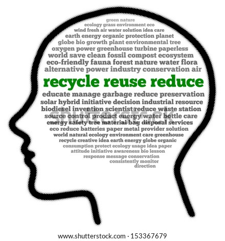 Recycle reuse reduce in head shape words cloud - stock photo