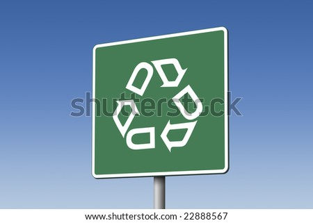 Recycle road sign - stock photo