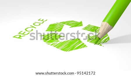 Recycle sign drawing on white background. - stock photo