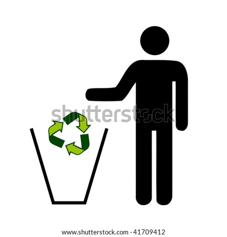 recycle sign dropping in a trash by people
