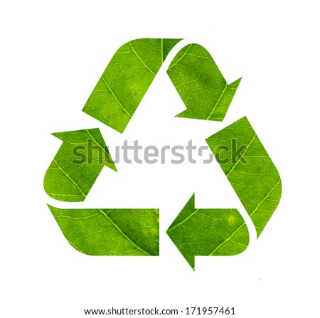 Recycle sign made of green leaf isolated on white background - stock photo