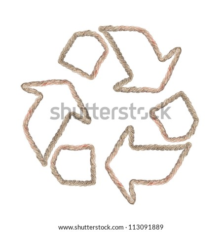Recycle sign made of rope isolated on white
