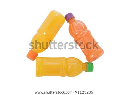 Recycle Sign made ??with three bottles of fruit drink, isolated on white background - stock photo