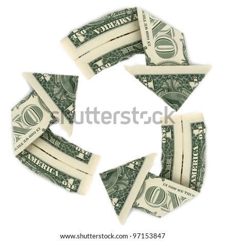Recycle Sign made with US Dollars - stock photo