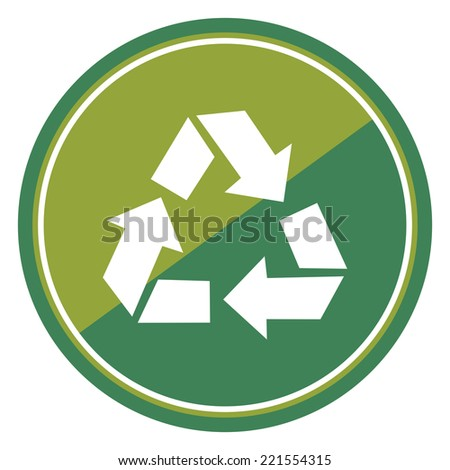 Recycle Sign on Green Circle Icon, Button, Label Isolated on White