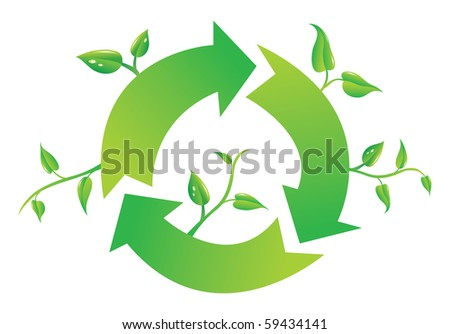 Recycle sign with branch and leaves