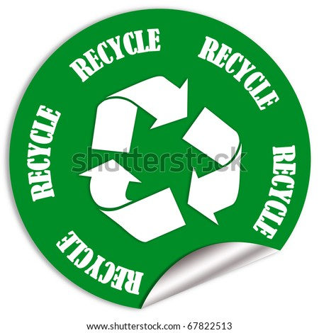 Recycle sticker - stock photo