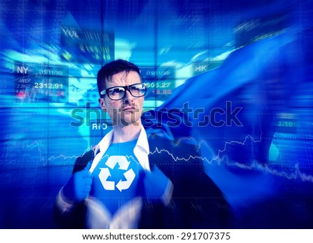 Recycle Strong Superhero Success Professional Empowerment Stock Concept - stock photo