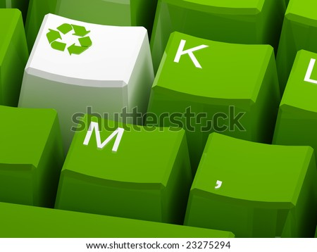 Recycle symbol button on green keyboard 3d - stock photo