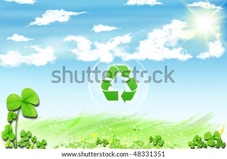 Recycle symbol . Conceptual drawing of planet conservation