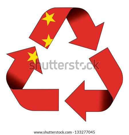 Recycle symbol flag of China - stock photo