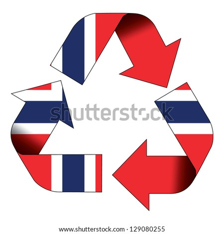 Recycle symbol flag of Norway - stock photo