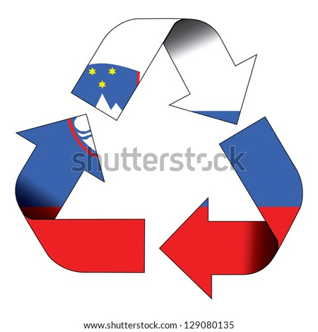 Recycle symbol flag of Slovenia - stock photo