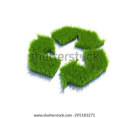 Recycle symbol from grass. 3d render isolated on white. - stock photo