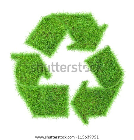 Recycle symbol from grass. isolated on white - stock photo