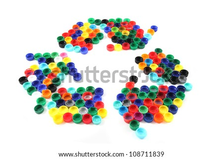 recycle symbol from plastic caps isolated on the white background