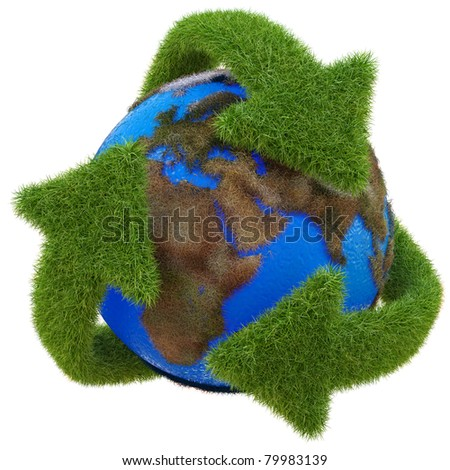 Recycle symbol from the grass around the globe. isolated on white. - stock photo