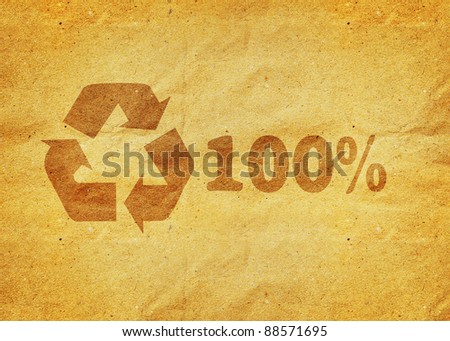 recycle symbol  on a yellow vintage  paper - stock photo