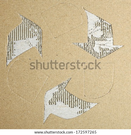 recycle symbol on cardboard texture  - stock photo
