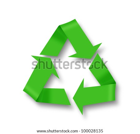 Recycle symbol on white with shadow - stock photo