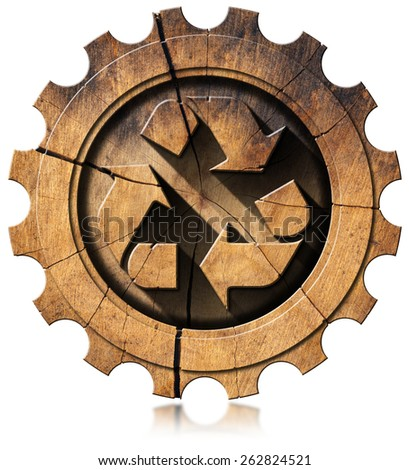 Recycle Symbol on Wooden Gear. Wooden recycling symbol in a wooden gear. Isolated on white background. - stock photo