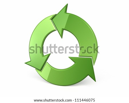 recycle symbol perspective view (clipping path and isolated on white)