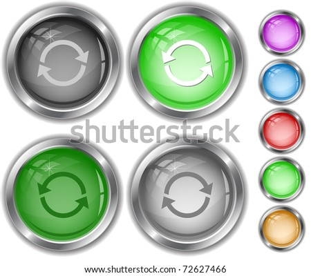 Recycle symbol. Raster internet buttons. Vector version is in portfolio. - stock photo
