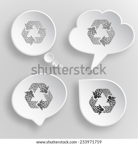Recycle symbol. White flat raster buttons on gray background.
