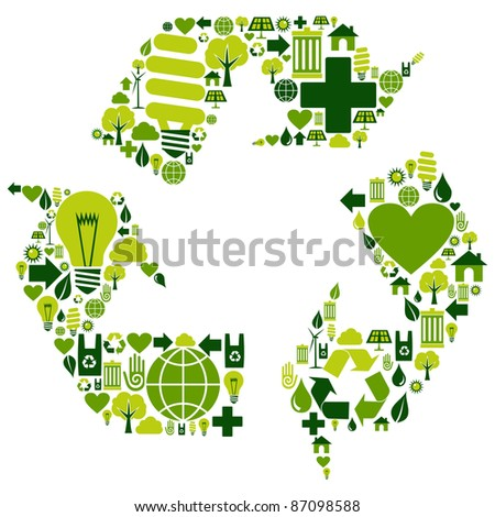 Recycle symbol with environmental icons . - stock photo