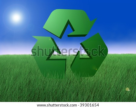 Recycle symbol with fog in background and grass
