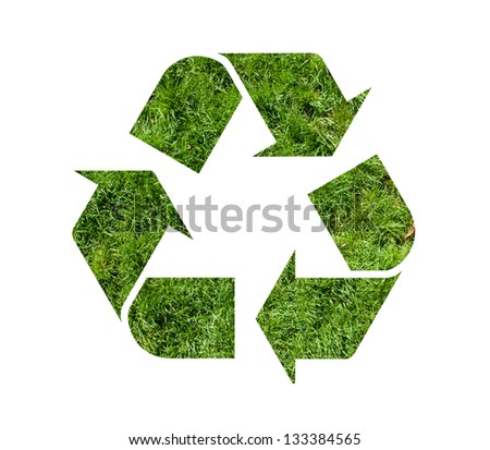 Recycle symbol with grass texture, isolated on white background - stock photo